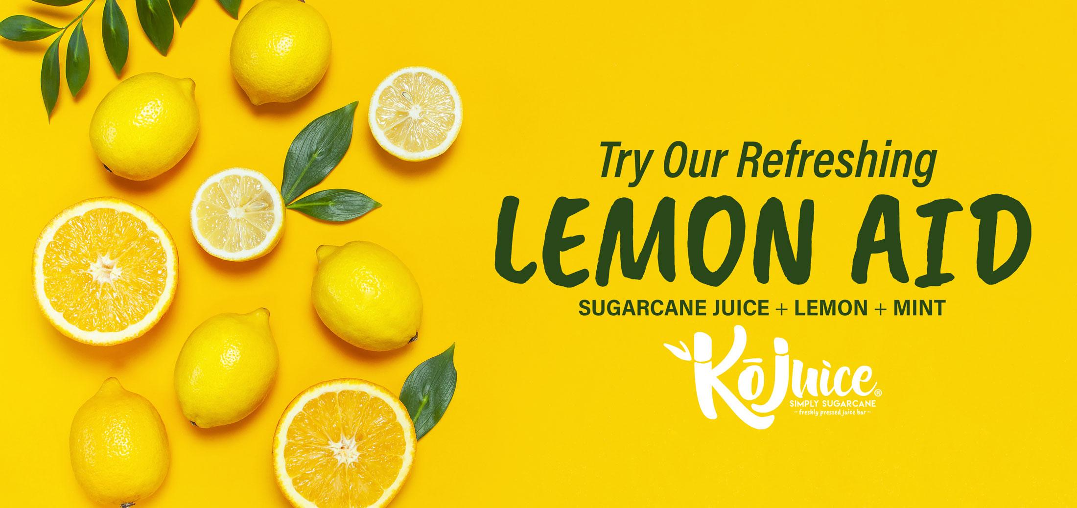 Ko Juice - Try Our Refreshing Lemon Aid Sugarcane Juice